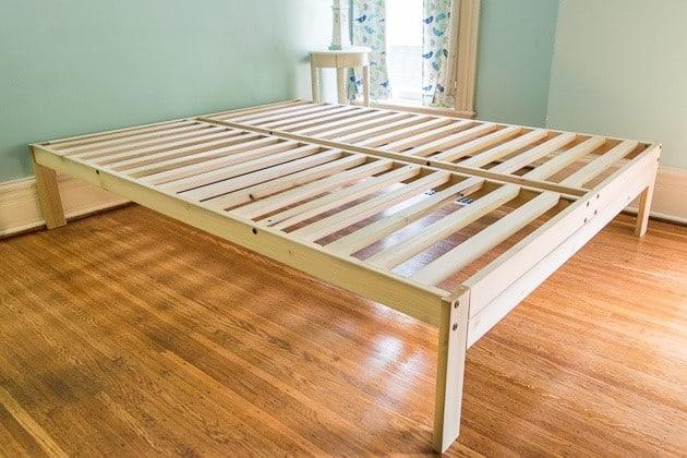 Platform bed frame with slats