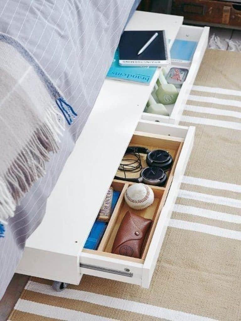 Platform bed with storage and organizer