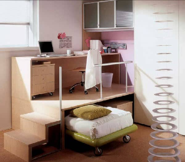 Trundle bed with desk