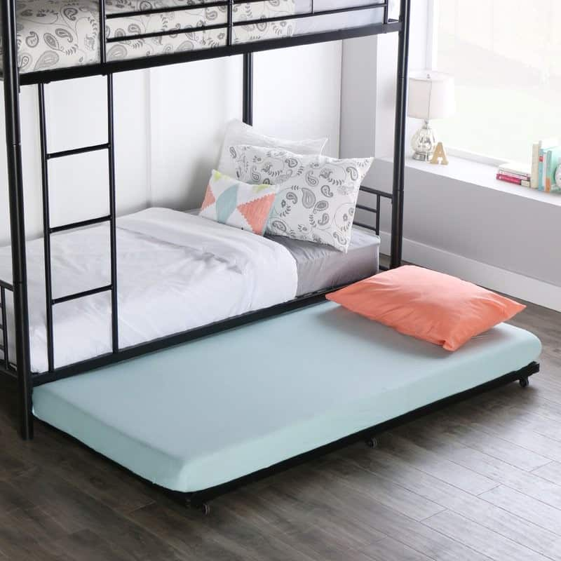 Trundle bed with metal frame and bunk