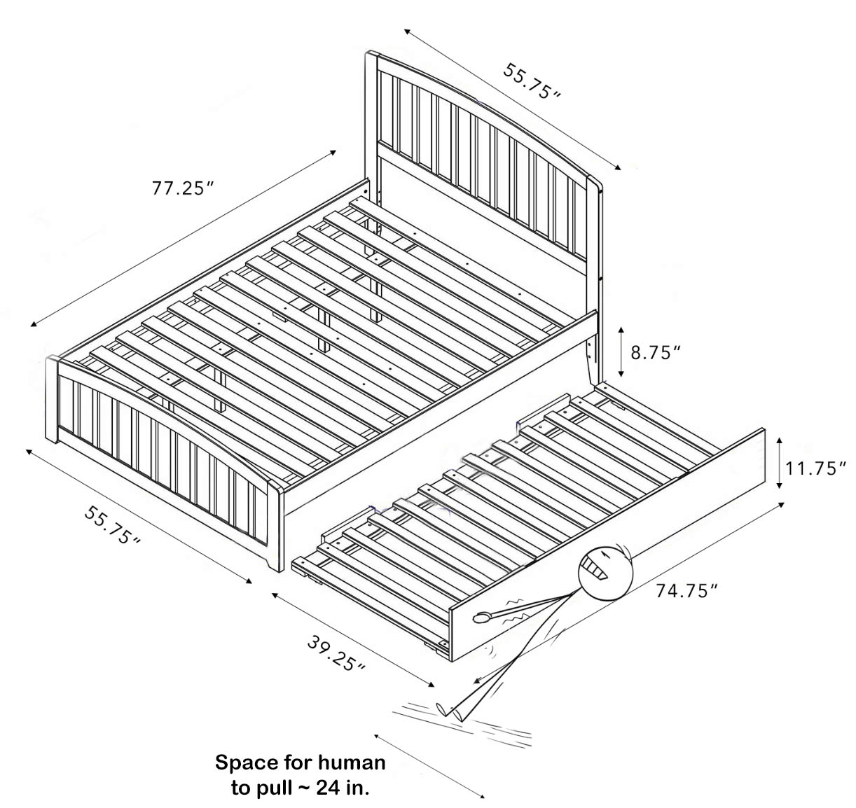Trundle bed floor space includes the parent bed, trundle bed, and space for a walkway