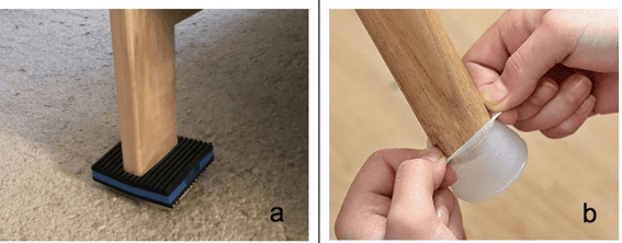 Fixing an Uneven Bed Leg: Image of bed leg with furniture pad or rubber leg cover