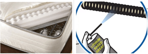 Fixing Deteriorating Coils Inside the Box Spring: Image of spring lubricating