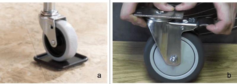 Fixing the Rubbing Between Wheels and the Floor: Image of a caster cup or wheel lock