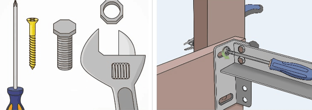 Fixing Weak or Loose Joints: Image of screw, bolt, screwdriver, wrench, and tighetening screw on bed frame joint