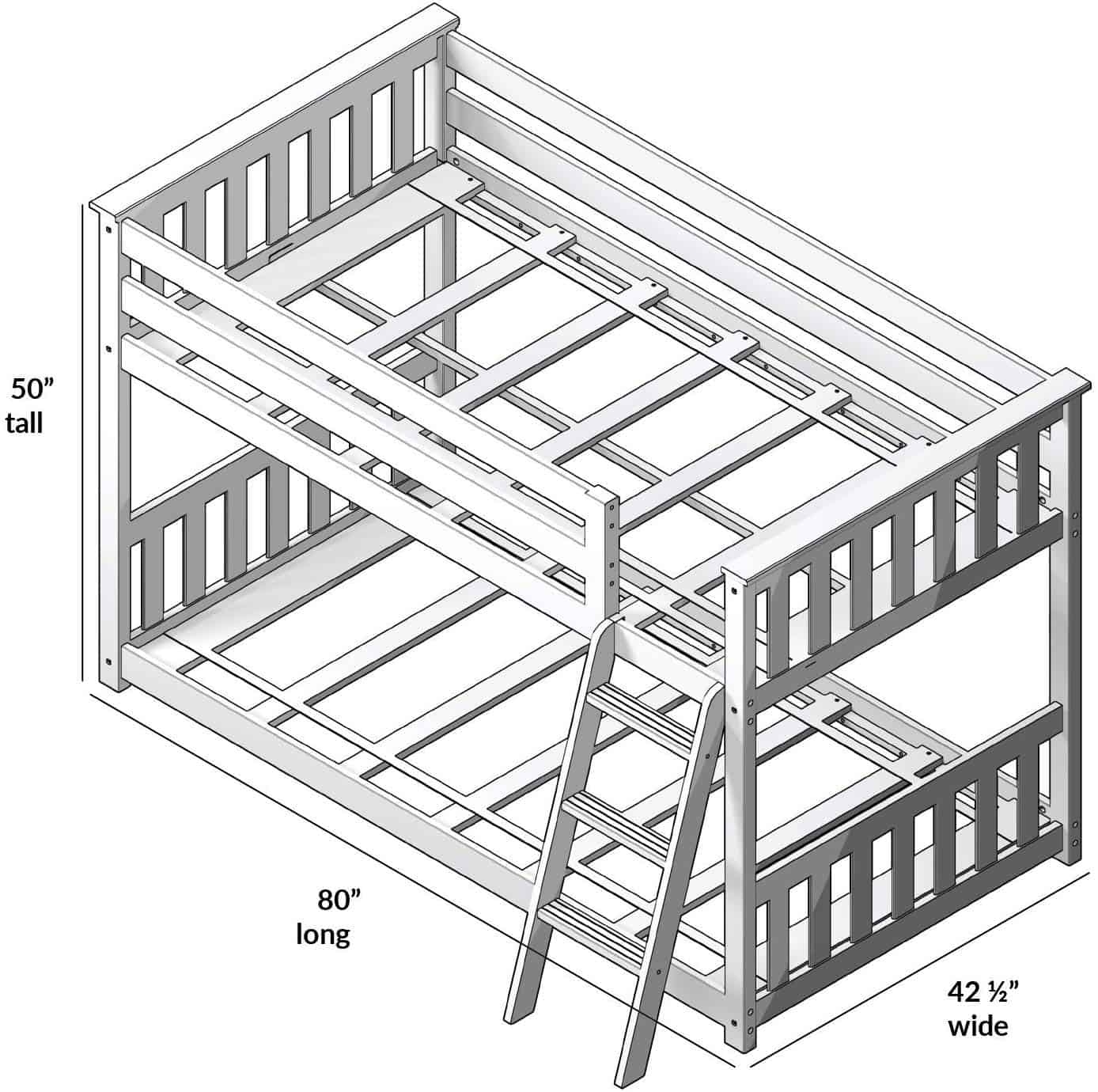 Picture of: What S The Size Of A Bunk Bed Guide To Sizes Of Different Types Of Bunk Beds Shorty Bunk Bed Height 7 Pgs Q A